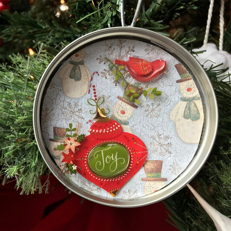 Recycled Mason Jar Lid Ornaments