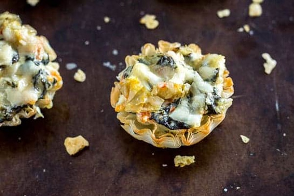 Mini Parmesan Spinach Phyllo Cups - Amazing Hot Appetizers Joyous Home
