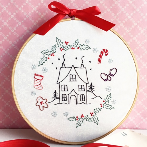 christmas cottage embroidery pattern