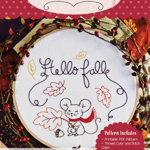 Hello Fall Digital Embroidery Pattern