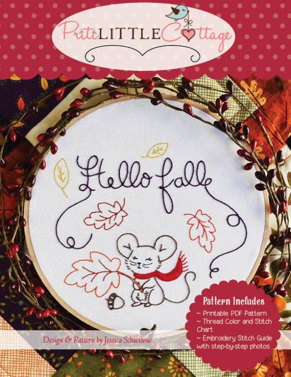 Hello Fall Digital Embroidery Pattern