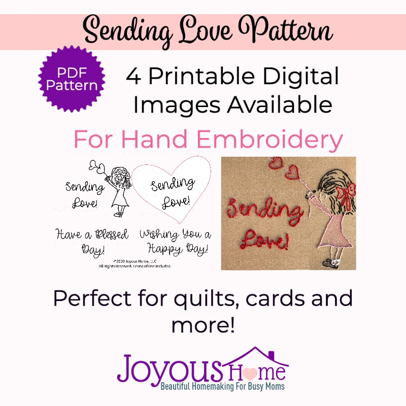 Sending Love Hand Embroidery Pattern