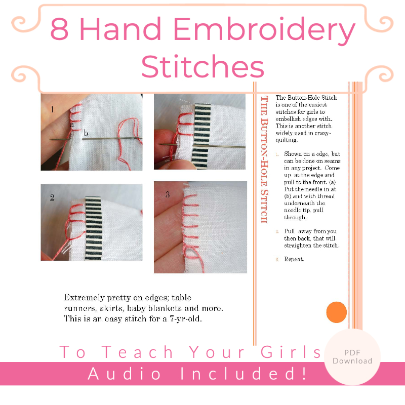 8 Hand Embroidery Stitches to Teach Your Girls
